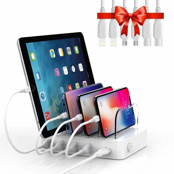 Soopii Smart Charging Station Dock & Organizer for Smartphones, Tablets & Other Gadgets - 4-Port Compact Multiple USB Charger with Charging Status Indicator Charging Pad