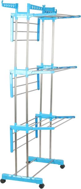 RAFTTAR Steel Floor Cloth Dryer Stand RF - PURE STAINLESS STEEL 3 LAYER CLOTH DRYING RACK - 05