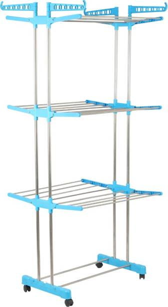 RAFTTAR Steel Floor Cloth Dryer Stand RF - PURE STAINLESS STEEL 3 LAYER CLOTH DRYING RACK - 04