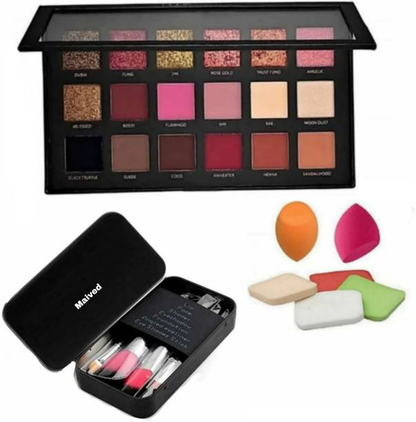 Maived Rose Gold REMASTURED Eyeshadow Palette Matte And Shimmer Eyeshadow + Pack Of 7 Black Makeup Brush Set With Storage Box with Me- now 6 in 1 Beauty Blender Puffs Sponge