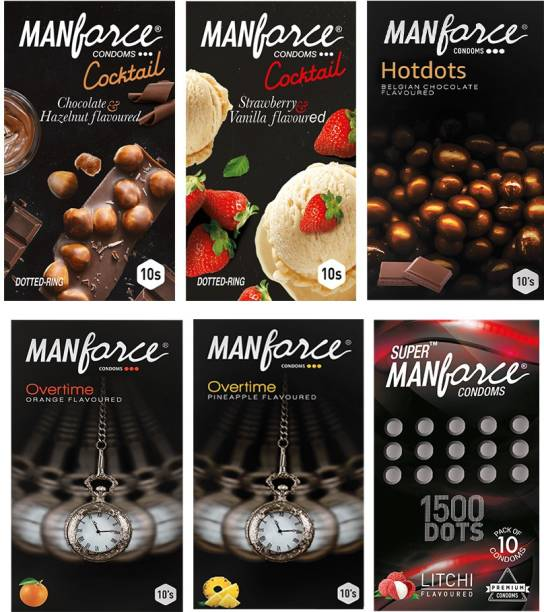 MANFORCE Classic Combo Pack (3in1 Overtime orange, 3in1 Overtime pineapple, Extra Dotted Litchi, Belgium Chocolate with Bigger Dots, Cocktail Strawberry+ Vanilla with Dotted Rings and Cocktail Chocolate+ Hazelnut with Dotted Rings) - 60 Pieces, (Pack of 6) Condom