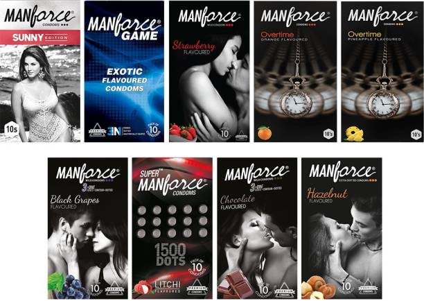 MANFORCE Jumbo Combo Pack (Exotic Game, Ribbed & Dotted Sunny, 3in1 Black Grape, 3in1 Strawberry, 3in1 Overtime Orange, 3in1 Chocolate, 3in1 Overtime Pineapple, Extra Dotted Litchi & Extra Dotted Hazelnut) - 90 Pieces, (Pack of 9) Condom