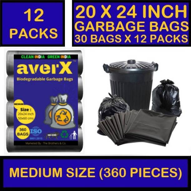 averX OXO-Biodegradable Medium Size Black Garbage Bag - 20x24 inches (Pack of 12 - 360 Pieces) 24 L Garbage Bag (360 Bags) Medium 24 L Garbage Bag Medium 24 L Garbage Bag