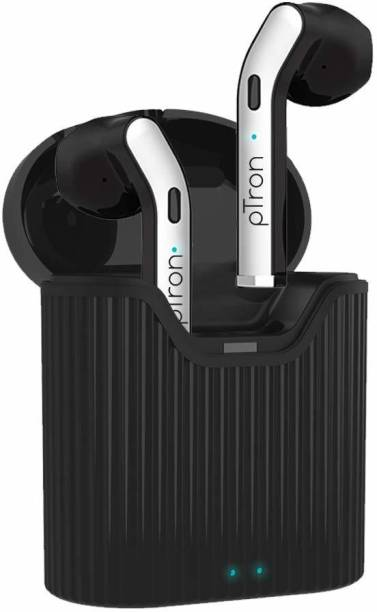 PTron Basspods 481 Bluetooth Headset (Black, Silver, True Wireless) Bluetooth Headset