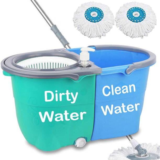 V-MOP Ultra Double Spin Bucket Mop - 360 Degree Self Spin Wringing with 2 Super Absorbers for Home & Office Floor Cleaning-A15 Mop, Bucket, Mop
