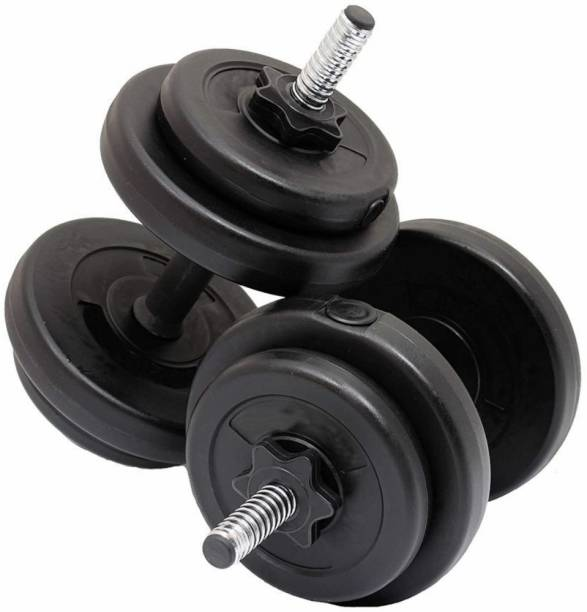 FUEGO 10KGS ( 2.5KG X 4PLATES), Weight Plates, Gym Weights with 2 Dumbbell rods & Nuts Black Bar & Plate Combo, Weight Plate