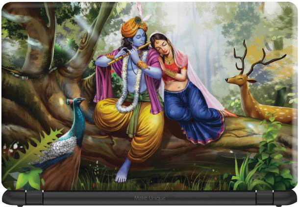 Make Unique Shree Radhe Krishna Get Together Image Laptop Skin LDSAA789 Vinyl Laptop Decal 15.6