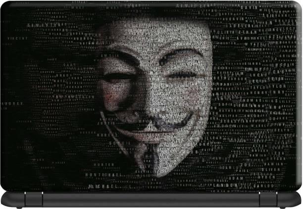 Make Unique Anonymous Face Art Hacker Black Theme Laptop Skin Stickers Design LSFD179 Vinyl Laptop Decal 15.6