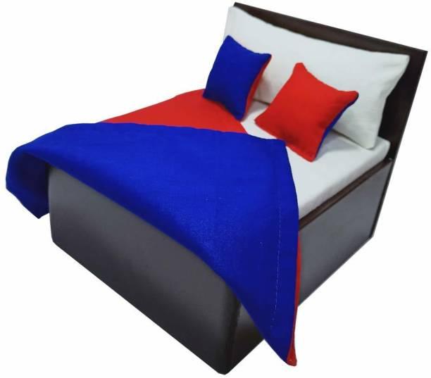 Kanha Creative Arts Kanha Creative Arts Wooden Bed with Double Sided Bed Sheet for Kanha Ji/Laddu Gopal Ji/Thakor Ji (Red)o Wooden Pooja Chowki For 0 size laddu Gopal (Red, Blue, Pack of 1) Wooden Pooja Chowki