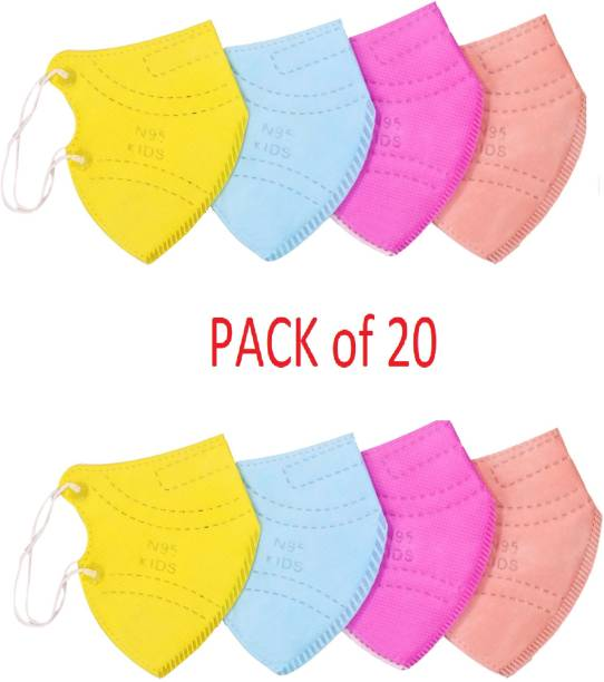 Palesa present N95 Kids Mask 20 pcs combo,Washable, Reuseable and Fit for kids 3-15 year (multi color) Kids N95 Mask Reusable, Washable