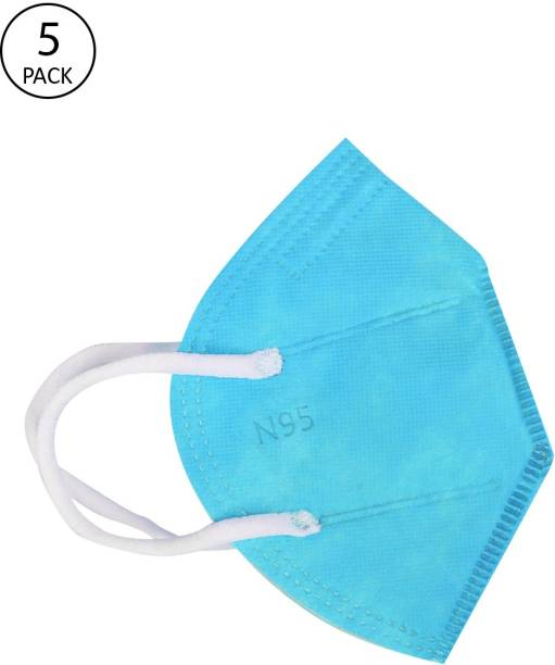 FASHITALE N95 Mask Sky Blu Pack Of 5 For Virus Protection, Pollution N95 Mask Sky Blu Pack Of 5 Cloth Mask With Melt Blown Fabric Layer