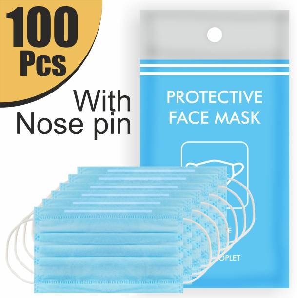 Re REDMOND ENTERPRISE 3L-100 100 Piece Mask with Nose Pin 3 Layer Mask 3 Ply Mask Disposable Mask With Soft ear loop Water Resistant Surgical Mask