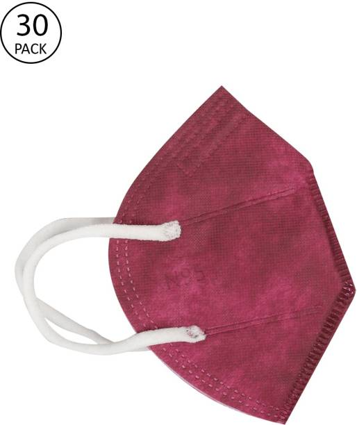 FASHITALE N95 Mask Maroon Pack Of 30 For Virus Protection, Pollution N95 Mask Maroon Pack Of 30 Cloth Mask With Melt Blown Fabric Layer
