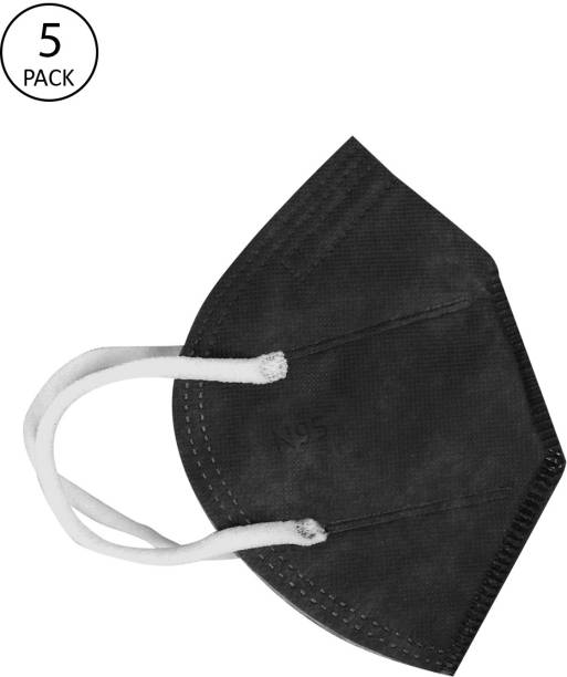 FASHITALE N95 Mask Black Pack Of 5 For Virus Protection, Pollution N95 Mask Black Pack Of 5 Cloth Mask With Melt Blown Fabric Layer