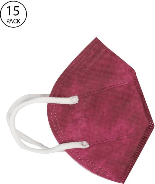 FASHITALE N95 Mask Maroon Pack Of 15 For Virus Protection, Pollution N95 Mask Maroon Pack Of 15 Cloth Mask With Melt Blown Fabric Layer