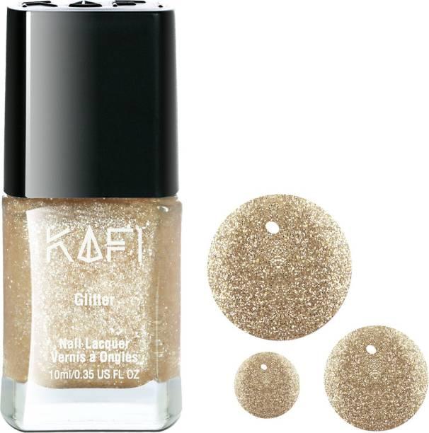 KAFI Glitter Nail Polish- Latest, Long lasting, Non Toxic, High Shine, Vegan, SalonPro - (White Gold Glitter) Born To Sparkle!