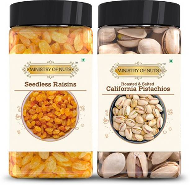 Ministry Of Nuts Special Pack of 2, Roasted & Salted Caifornia Pistachios- 100g, Seedless Raisins- 150g - All Natural, Good Source of Protein & Dietary Fibres | Zero Cholesterol & Trans Fat | Energy Booster Assorted Nuts