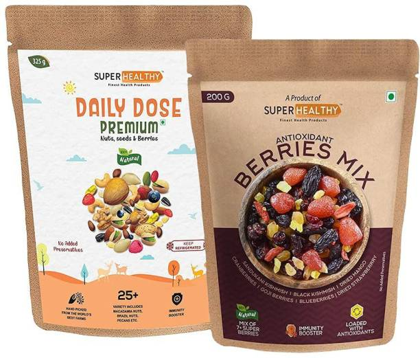 Super Healthy combo of premium mixed nuts , seeds & organic berry mix | 20+ Varieties : in nuts and seeds (325 g)| 7+ Varieties in organic berry mix (200 g) Assorted Seeds & Nuts