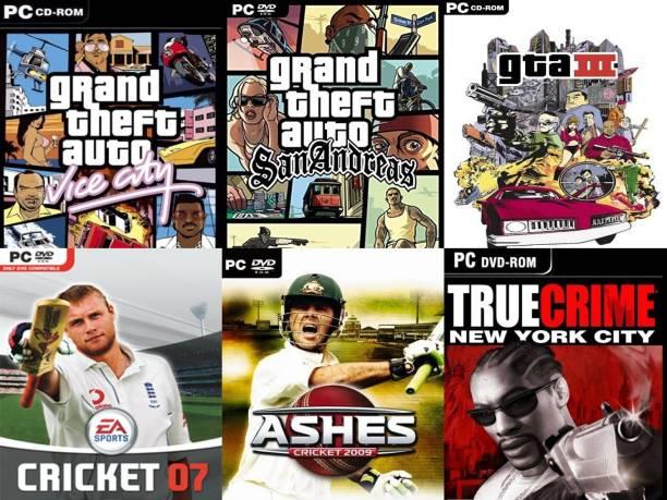 Vice City, SanAndreas, Gta 3, EA Cricket 07, Ashes Cricket 09, True Crime Total 6 Game Combo (Offline Only) (Regular)