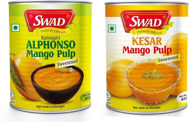 SWAD Combo Pack of Ratnagiri Natural Alphonso Mango Pulp and Kesar Mango Pulp   With No Added Preservatives   850g Each 1700 g