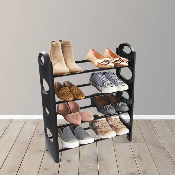 TNT Multipurpose Foldable Cabinet Organiser 4 Shelves, Black Metal Shoe Stand
