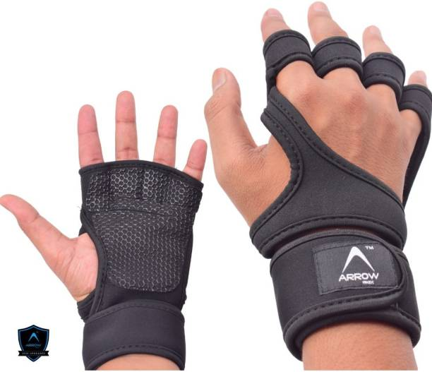 ArrowMax Non-Slip Palm Silicone with wrist support COBRA weight lifting Gym & Fitness Gloves