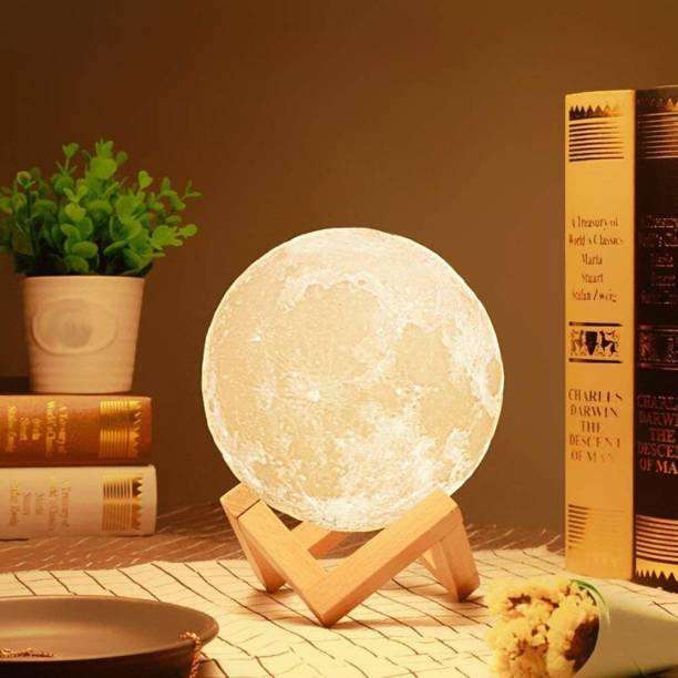 Happysome 3D 7 Color Moon Night Lamp Non-Rechargeable with Stand- 15CM (Without Battery,Moon Light) Night Lamp