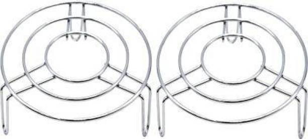 Msquare Supplies Msquare Baking Rack Cake Stainless Steel Drying Stand for Pastry Bread Cookies Cooling Grid Tray Glossy Trivet (Pack of 2) STEEL Trivet