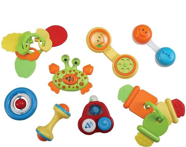 LuvLap Telephone, CrabHorn, Fruit teether, Spinner, Dumbel rattle, Ambulance Press HornTeether Rattlesfor Baby Rattle