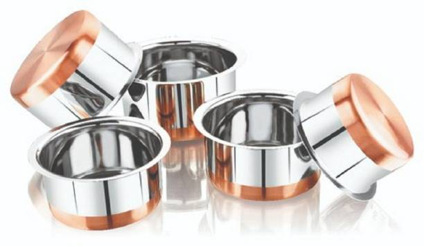 RBGIIT Stainless Steel Copper Bottom Cookware Set | Container | Tope | Patila | Tapeli | Handi | Kitchen Cooking and Serving Bowl | Dining Set | Pot Sets | Cooking Serving Biryani | Punjabi Pot Pan Combo Handi |Chiken Fish And Rice Boil | Stainless Steel Copper Base Gas Compatible Handi Set | Prabhu Chetty, Curved Copper Plate at Bottom, Best Quality Stainless Steel Copper Bottom 5 Pic Handi Pot Set, Brown & Steel, 5 Pic Handi Copper Vegetable Bowl ,Cooking Dinner Table Serving Biryani Pot Handi Kadhai , Panikarilikka Steel Handi Stainless Steel Mixing Bowl