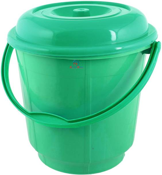 Heart Home Plastic Strong 16 LTR Bathroom Bucket With Lid (Green) 16 L Plastic Bucket