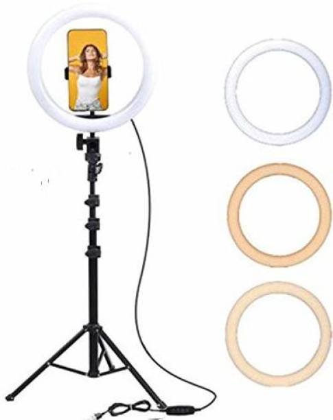 Highstairs 10 Inches Big LED Selfie Ring Light With 7 feet Tripod for Smartphone to Capture Your Photo and Video at Tiktok, Musically and Other App Ring Flash