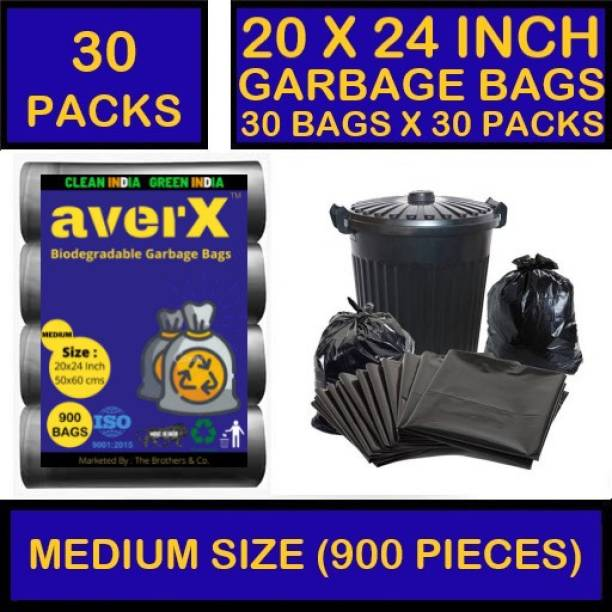averX OXO-Biodegradable Medium Size Black Garbage Bag - 20x24 inches (Pack of 30 - 900 Pieces) 24 L Garbage Bag (900 Bags) 24 L Garbage Bag Medium Size Medium 24 L Garbage Bag