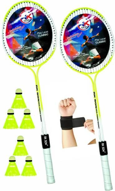 rk son Max Badminton Set Of 2 Piece Racquet with 6 Piece Plastic Shuttle 1Wrist Band Badminton Kit Badminton Kit
