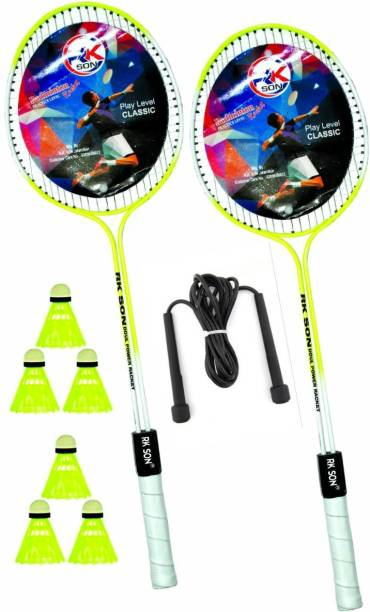 rk son Max Badminton Set Of 2 Piece Racquet with 6 Piece Plastic Shuttle Badminton Kit Badminton Kit