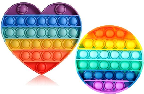 Zmeet Push and Pop Bubble Fidget Sensory Toy, Loud Side and a Quiet Side to Pop, Autism ADHD Special Needs Stra ess Reliever Silicone Squeeze Toy, a Great Way to Relax and Keep Kids Adults Busy, (Round Rainbow + Heart Rainbow ) pack of 2