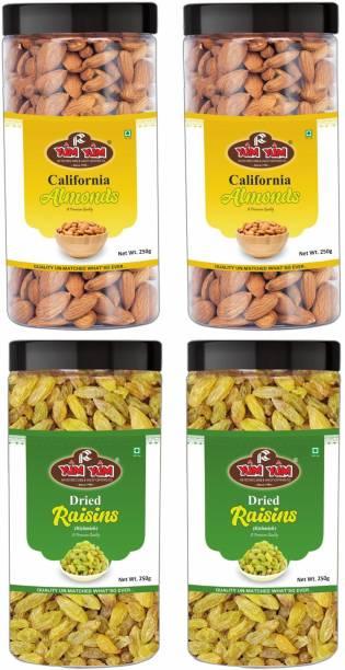YUM YUM Premium California Almonds (500g) & Raisins Kishmish (500g) 1kg Dry Fruits Combo Pack- Almonds, Raisins