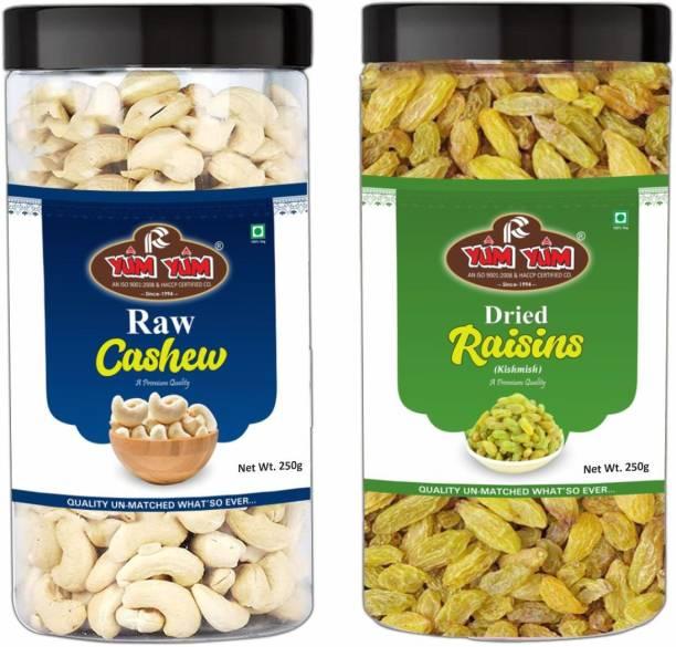 YUM YUM Premium Cashew Nut (250g) & Raisins Kishmish (250g) Dry Fruits Combo Pack- Cashews, Raisins