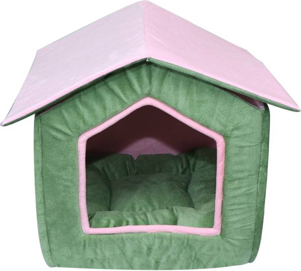 Hiputee Foldable Velvet Fabric Dual Color House/Hut for Dogs & Cats M Pet Bed