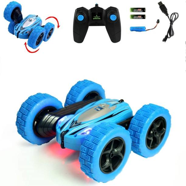 Royaldeals Remote Control Car,2.4GHz Electric Race Stunt Car, Double Sided 360° Rolling Rotating Rotation, LED Headlights RC 4WD High Speed Off Road Boys/Girls (Blue)