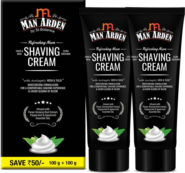 Man Arden Refreshing Neem Shaving Cream - With Antiseptic Neem And Tulsi, Panax Ginseng Extract for Smooth Shave,(Pack of 2)