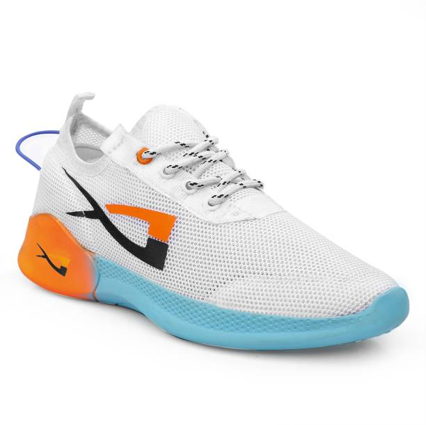 JK PORT Fashionable Mens White Sports Shoes For Running, Gyming, Walking, Cycling, Jogging, Bowling, Cricket, Dancing And outdoor Casual Shoes. Running Shoes For Men