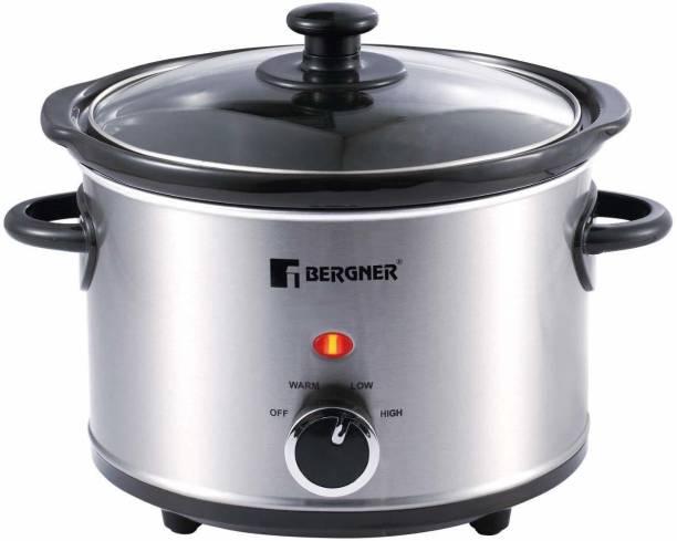 Bergner Elite Stainless Steel 160W Grey with Cookbook Slow Cooker