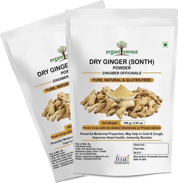 Organivorous Dry Ginger Powder | Sonth Powder | Sunthi Powder | Pure & Natural | Immunity Booster | Pack of 2 x 100 grams