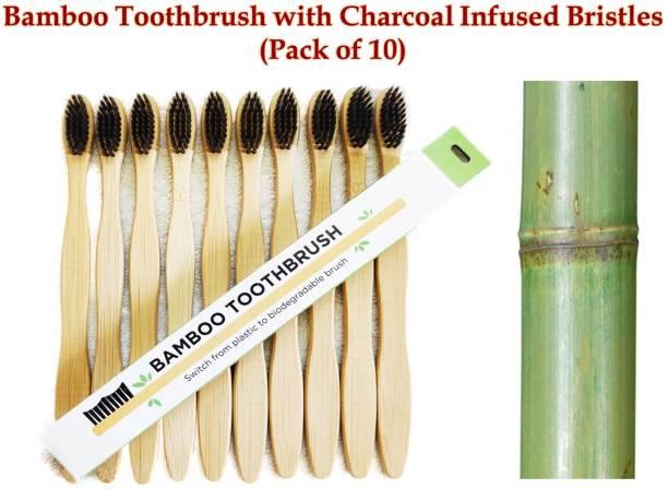 Prakrtik Bamboo Toothbrush (Pack of 10) Medium Toothbrush