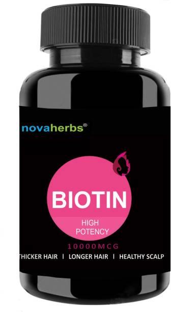 Novaherbs Biotin - 10000mcg - Hair Supplement - 60 Veg Capsules