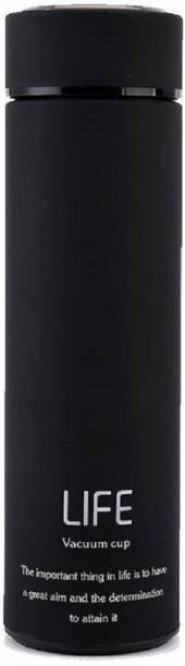 AKR Double Wall Vacuum Flask Insulated Thermos Travel Water Bottle (500 ml) - Stainless Steel Infuser with Strainer - (LIFE-BLACK) 500 ml