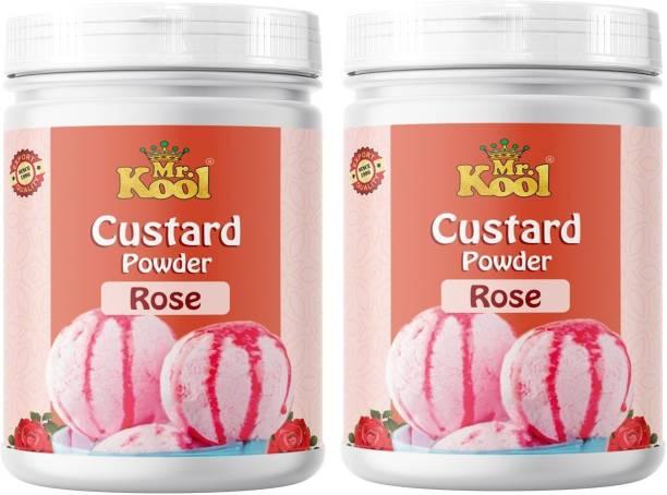 Mr.Kool Custard Powder (Rose Flavor) Pack 2 for Ice Cream, Baking Cake, Egg less Custard Powder