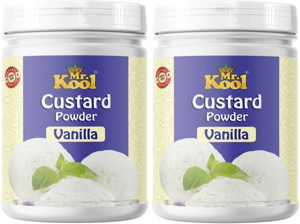 Mr.Kool Custard Powder (Vanilla Flavor) Pack 2 for Ice Cream, Baking Cake, Egg less Custard Powder