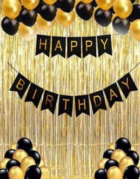 HERDEM Solid Combo of 33, 1 Piece Happy Birthday Banner, 30 Black and Golden Balloon, 2 Curtains, great Product (Set of 33) Balloon